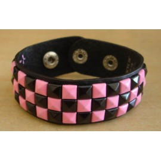 Bracelet PCV 3 rows - pink/black