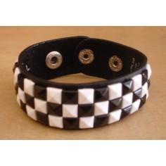 Bracelet PCV 3 rows - white/black