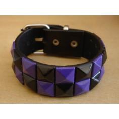 Bracelet PCV 2 rows - violet/black
