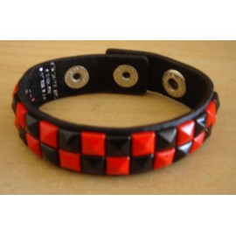 Bracelet PCV 2 rows - red/black