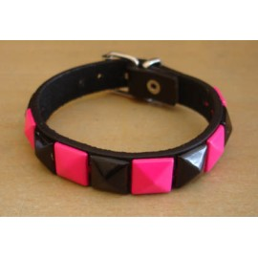 Bracelet PCV 1 row - pink/black