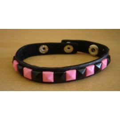 Bracelet PVC 1 rang - rose/noir