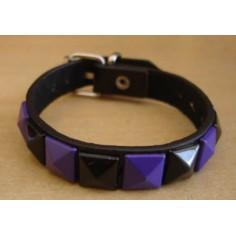 Bracelet PVC 1 rang - violet/noir