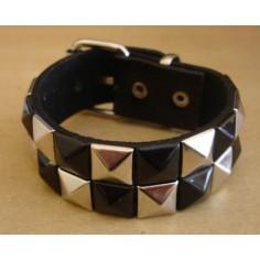 Bracelet PVC 2 rangs - argent/noir