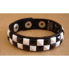 Bracelet PVC 2 rangs - blanc/noir