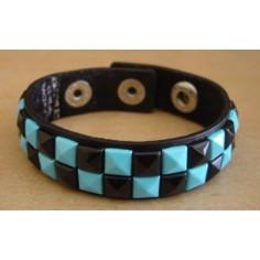 Bracelet PVC 2 rangs - bleu/noir