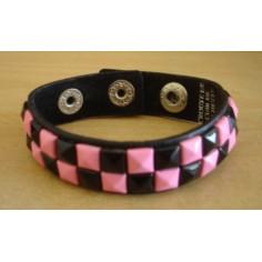 Bracelet PVC 2 rangs - rose/noir