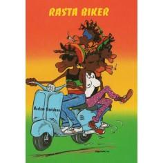Postcard Reggae - Jimmy rasta biker